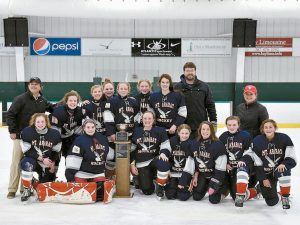THE MT. ARARAT MIDDLE SCHOOL girls hockey team recently defeated Oyster River to win the Southern Maine Middle School Hockey League Petterson Division Championship. After trailing by two goals, the Junior Eagles stormed back to win, 3-2 behind Caroline Gepfert's game-winning goal with just 28 seconds left in regulation. Natalie Simonds and Anna Mazza also scored for Mt. Ararat. Pictured in the photo are (back row, left to right) Coach Fred Rowe, Olivia Vaillancourt, Maddie Young, Caroline Gepfert, Ema Hawkes, Megan Reed, Hannah Lawrence, Coach Bryan Swenson, Coach Heidi Gepfert, (front row, left to right) Hannah Kenney, Lily Schenk, Amelia Slocum, Courtney Swenson, Abigail Lucas, Breanne Hunter, Camille Rowe. The Eagles are also coached by David Hunter, Jeffrey Slocum and Nellie Hetherington.