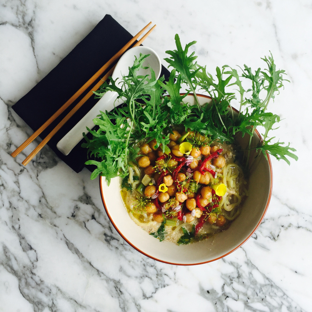 Chick Pea Ramen with Chickpea Miso, Kale, Sundried Tomatoes and Scallions