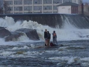 LISBON AND DURHAM fire departments rescue three teens trapped by rising water near the Miller Hydro Dam Saturday evening.  PHOTO COURTESY OF LISBON POLICE DEPARTMENT