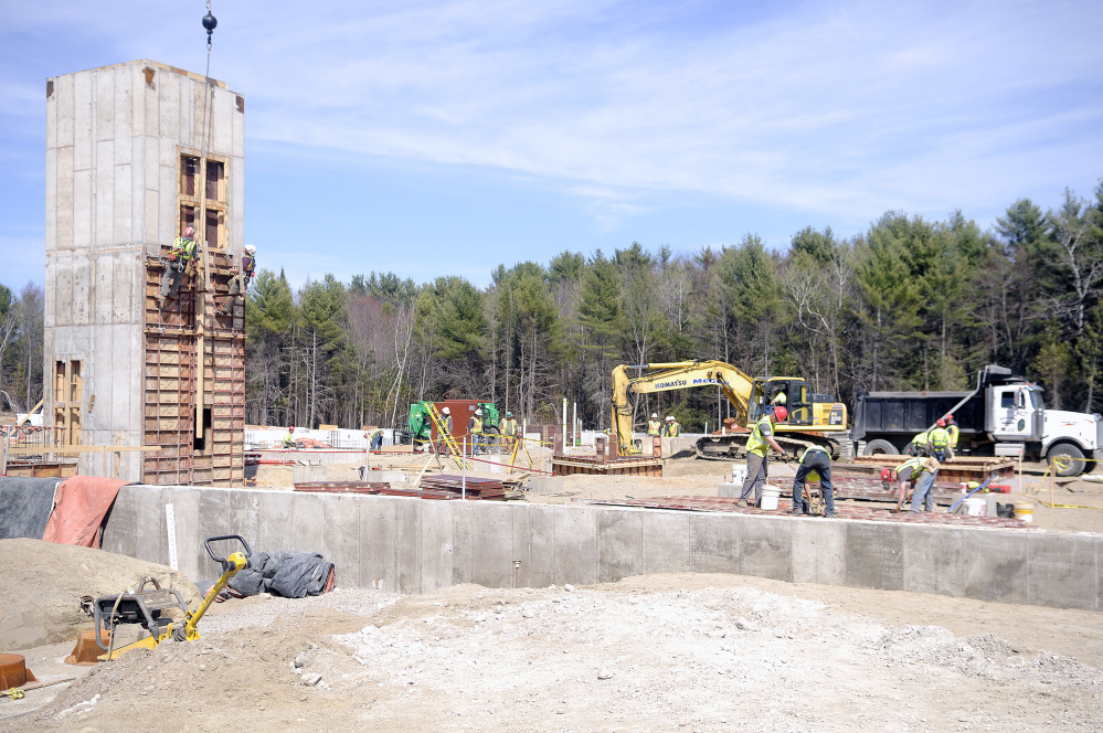 Construction last week at the new Maine National Guard headquarters, Camp Chamberlain, in Augusta.