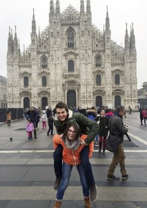 Nick Boulos, a Portland high school graduate, and Kira Farley visit the Milan Cathedral in Italy during their gap year abroad.