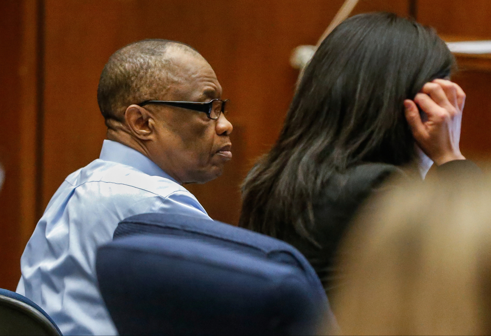 "FILE- In this Feb. 16, 2016, file photo, Lonnie Franklin Jr., left, appears in Los Angeles Superior Court for opening statements in his trial in Los Angeles.  The ""Grim Sleeper"" serial killer trial is coming to a close in Los Angeles after months of testimony. Closing arguments were scheduled to begin Monday, May 2, 2016, in the trial of Franklin. He's charged with killing nine women and a 15-year-old girl between 1985 and 2007."