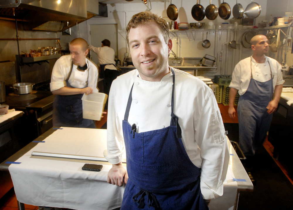 Erik Desjarlais at Evangeline, formerly on State Street in Portland. Below: Desjarlais is now a seamster making knife rolls and other chef gear. He has his own shop in Freeport.