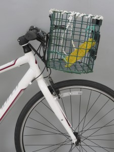 A bicycle basket made of old lobster traps.