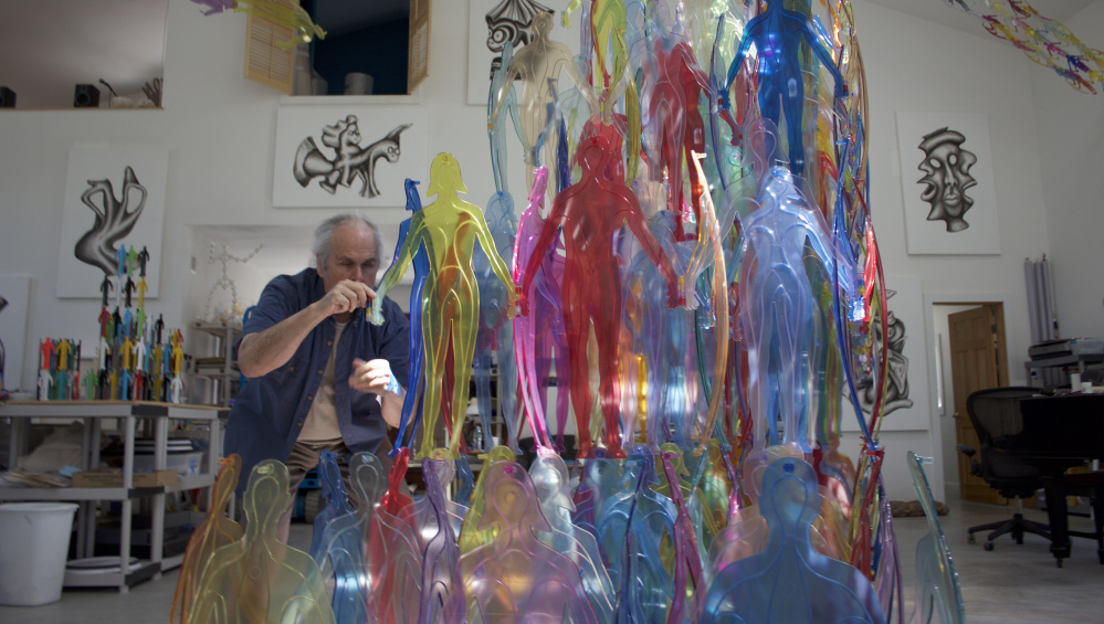 Jonathan Borofsky is preparing the installations for his Rockland show in his Wells studio.