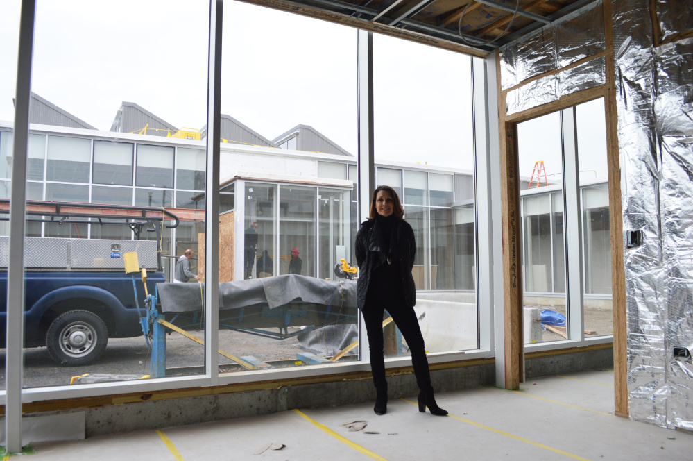 CMCA director and curator Suzette McAvoy during construction.