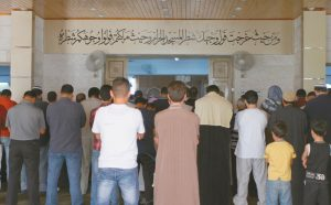 MEN PRAY inside the al-Makhtoum mosque in Zarqa, Jordan during the funeral of Nasser Idreis, an alleged Islamic State sympathizer who died serving a three-year prison sentence, on June 9. Hundreds of suspected backers of the Islamic State group in Jordan have been sentenced to prison, are awaiting trial or are being held for questioning in a heavy crackdown by the kingdom under toughened anti-terror laws that punish even liking or sharing IS material on social media.