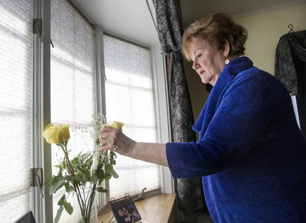 Kathy Jackson of South Gardiner had an aneurism and a stroke three and a half years ago. She uses a video conferencing system developed by the University of Maine to work on her speech skills.