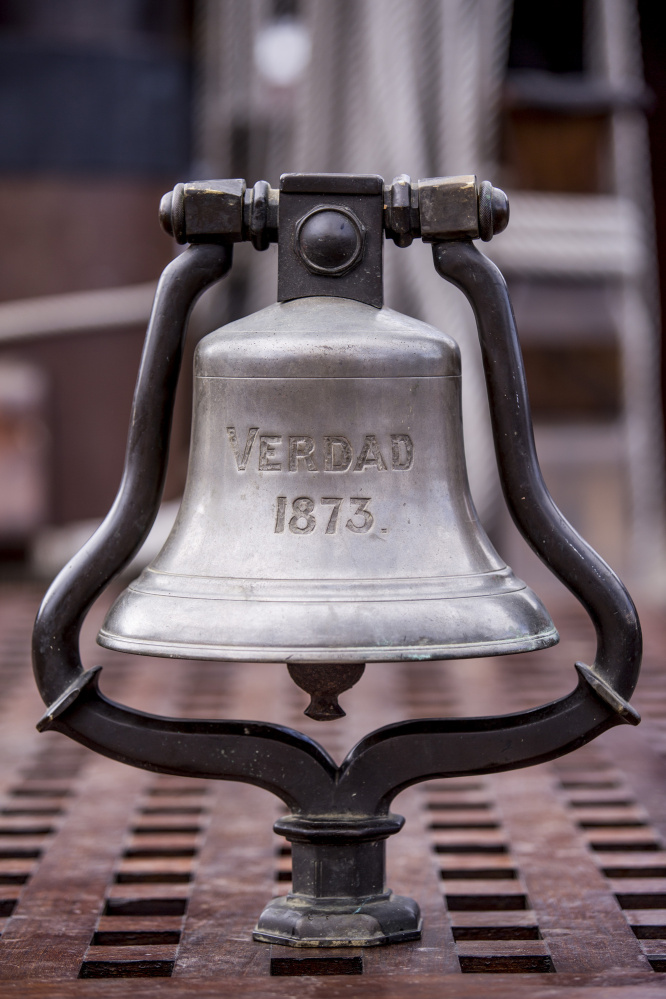 The 19th-century bronze bell retrieved from a Spanish shipwreck will be taken back to the Canary Islands by the tall ship El Galeon.