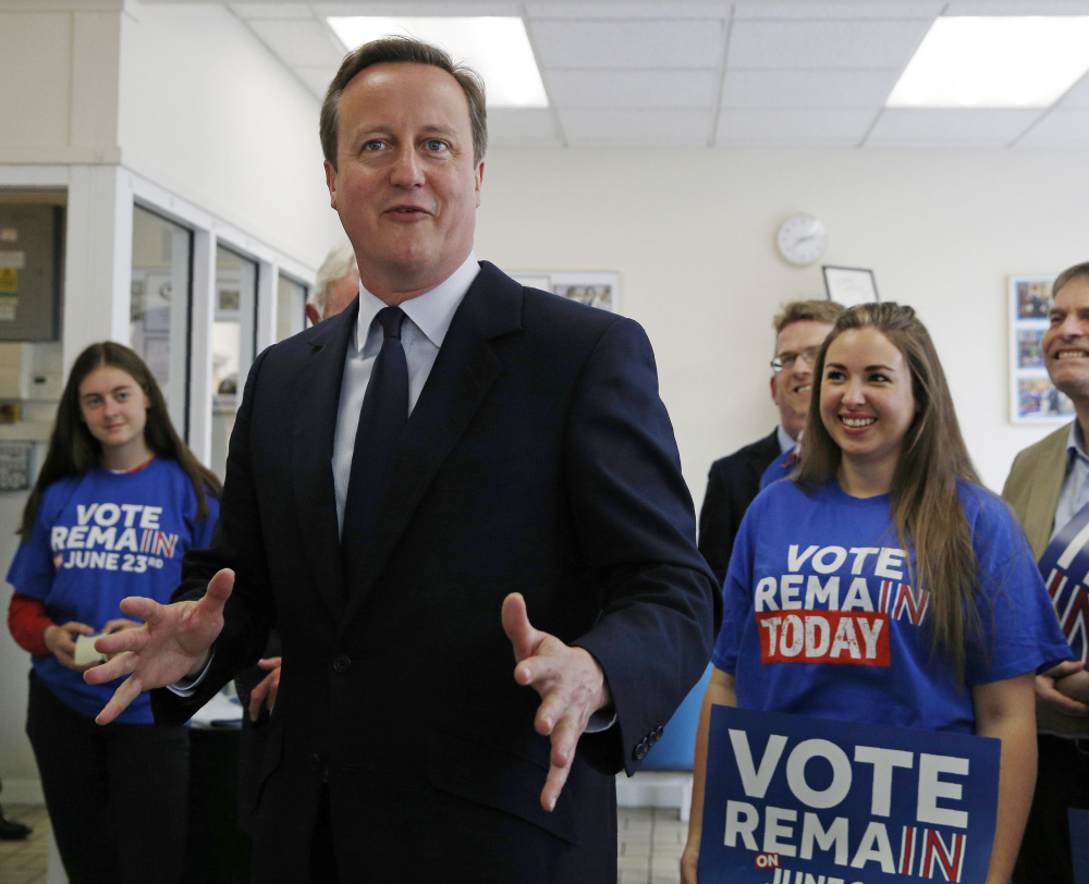 Prime Minister David Cameron visits a family business in London as he urges Britons to think of future generations in the upcoming Brexit vote.