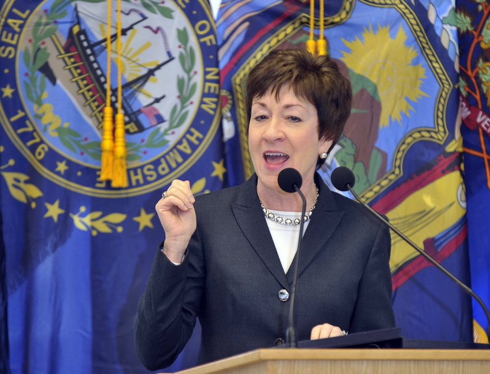 "U.S. Sen. Susan Collins, R-Maine, writes in an op-ed column for The Washington Post that she can not vote for Donald Trump. ""Regrettably, his essential character appears to be fixed, and he seems incapable of change or growth,"" she writes."