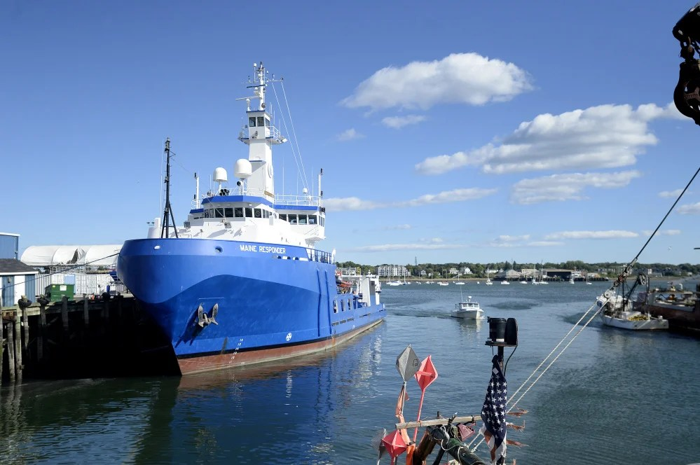The Maine Responder spill cleanup vessel, docked Monday at Union Wharf in Portland, is capable of skimming and recovering 444,000 gallons of oil and water per day.