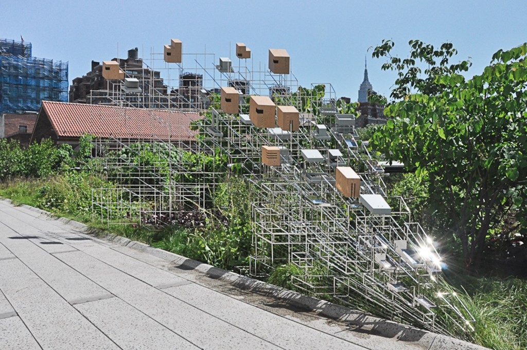 "Sarah Sze's ""Still Life with Landscape"" is installed on the High Line in New York City."