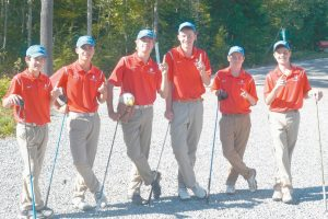 MEMBERS OF THE MT. ARARAT HIGH SCHOOL golf team, from left to right, Caleb Manuel, Cam Cox, Steven Schuman, Ben Hickson, Will Kavanaugh and Cade Charron, pose for a photo prior to hosting Oxford HIlls on Wednesday at Highland Green Golf Club in Topsham. The Eagles rolled to a 9-0 win.