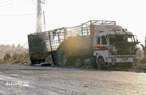 A DAMAGED TRUCK carrying aid in Aleppo, Syria, is seen in this image provided by Syrian anti-government group Aleppo 24 today. A U.N. humanitarian aid convoy in Syria was hit by airstrikes Monday as the Syrian military declared that a U.S.-Russian brokered cease-fire had failed, and U.N. officials reported many dead and seriously wounded.