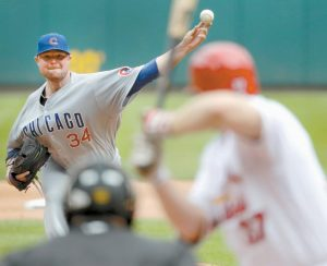 CHICAGO CUBS STARTING PITCHER Jon Lester throws during the seventh inning of a baseball game against the St. Louis Cardinals on Wednesday in St. Louis.