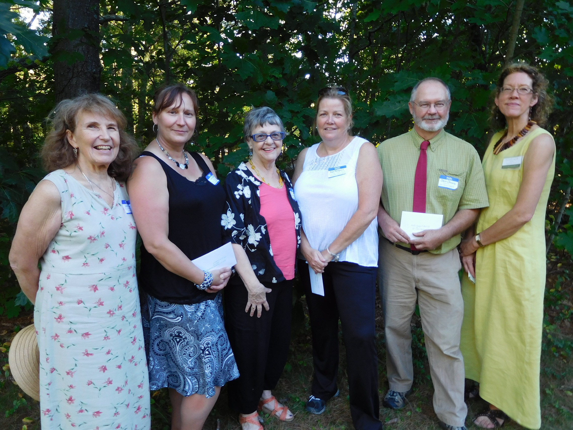 Attending a recent Maine Women in the Arts presentation of scholarships are, left to right, Liz Roper, MWA; Lisa Crothers and Ann Schultz, RSU 21; Deb Thompson, Sanford/Springvale; Christopher Chessie, Wells-Ogunquit; and Pam Edwards, MWA chairperson.