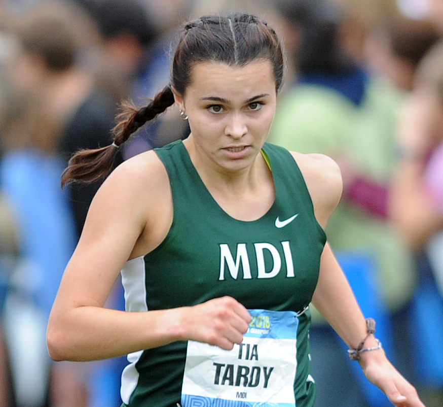 Tia Tardy of Mount Desert Island captured the girls' title, timed in 18 minutes, 32.71 seconds on the 5-kilometer course.