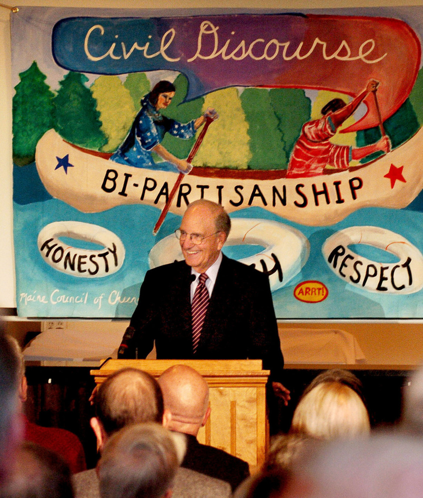 Former Senate Majority Leader George Mitchell speaks about political civility Thursday during a Maine Council of Churches event in Waterville.