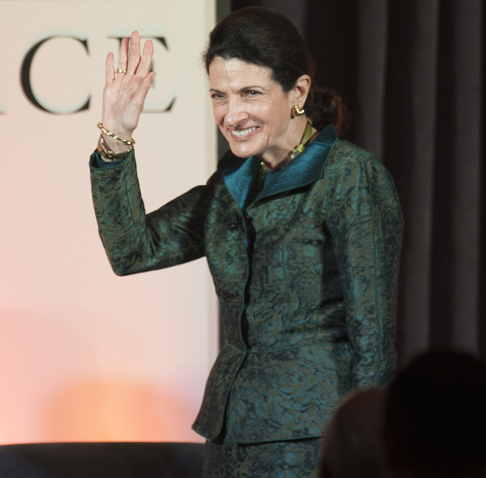 """Former Sen. Olympia Snowe appears at Friday night's forum in Bangor. She said, """"What distinguished us in the past is that we were willing after fierce debates ... to transcend our differences for the greater good of the country and reach a solution."""""""