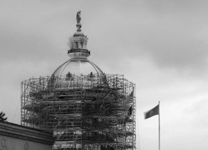 THE NEWLY RE-GILDED GOLD DOME at New Hampshire's statehouse in Concord, New Hampshire, on Spt. 28. Workers have begun to dismantle the scaffolding around the dome on the Civil War-era statehouse. The makeover comes as the state launches a three-year-old bicentennial celebration of the State House and its grounds.