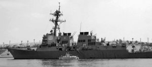 THE BATH IRON WORKS-BUILT DESTROYER USS Mason sails in the Suez canal in Ismailia, Egypt in 2011. Two missiles fired from rebel-held territory in Yemen landed near USS Mason, the U.S. Navy said on Monday.
