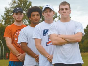 BRUNSWICK HIGH SCHOOL football players, moving from left to right, Hunter Garrett, Ben Palizay, Christian Jensen and Jesse Devereaux will lead the Dragons offense tonight against Brewer. Kick-off is slated for 7 p.m. at Brunswick High School.