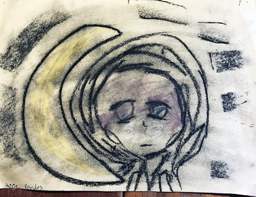 Self-portrait around age 10 by Maisie Knowles after his mental health problems began to take hold.