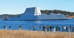 THE USS ZUMWALT travels down the Kennebec River in Phippsburg in this December 2015 file photo.