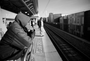A COMMUTER WAITS ON THE PLATFORM at Temple Univerty station during the first day of the SEPTA strike in Philadelphia, Pa., Nov. 1.