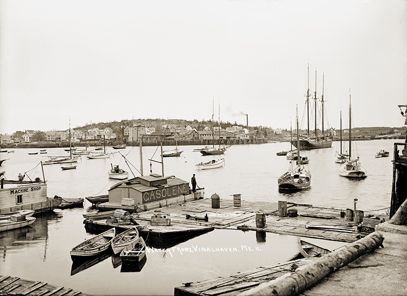 A vintage-postcard view of the waterfront in Vinalhaven