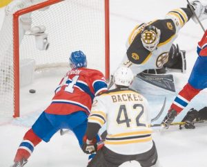 MONTREAL left wing Paul Byron (41) scores the third goal against Boston Bruins goalie Zane McIntyre (31) during the third period of an NHL hockey game on Tuesday Montreal.