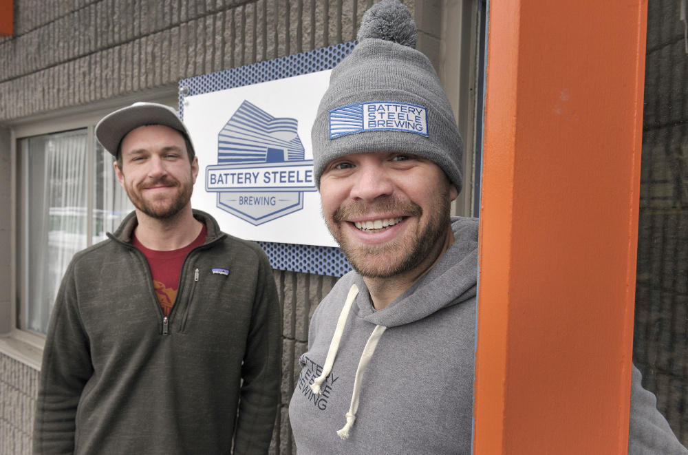 Battery Steele Brewing, owned by Shane Noble, left, and Jake Condon, is the newest venture at 1 Industrial Way. John Ewing/Staff Photographer