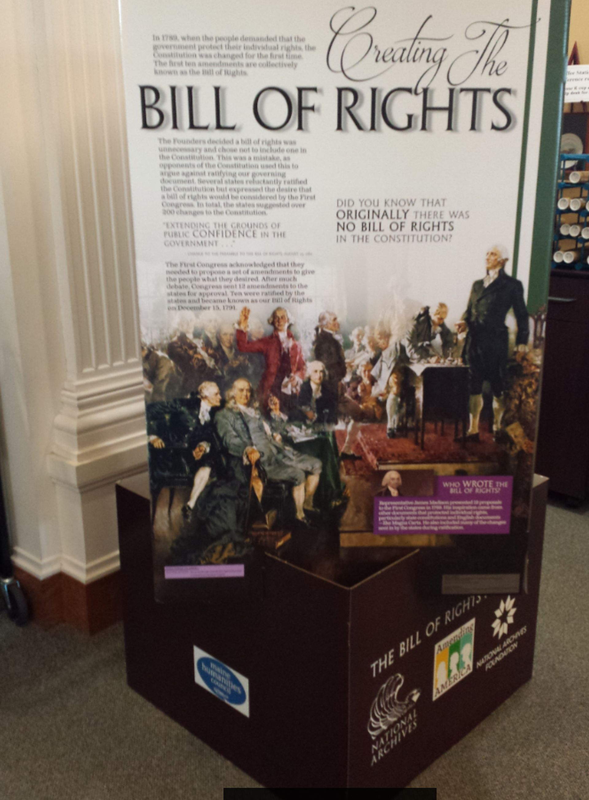 A new pop-up exhibition, The Bill of Rights and You, runs through Jan. 31 at the Kennebunk Free Library and commemorates the 225th anniversary of the ratification of the landmark document. SUBMITTED PHOTO