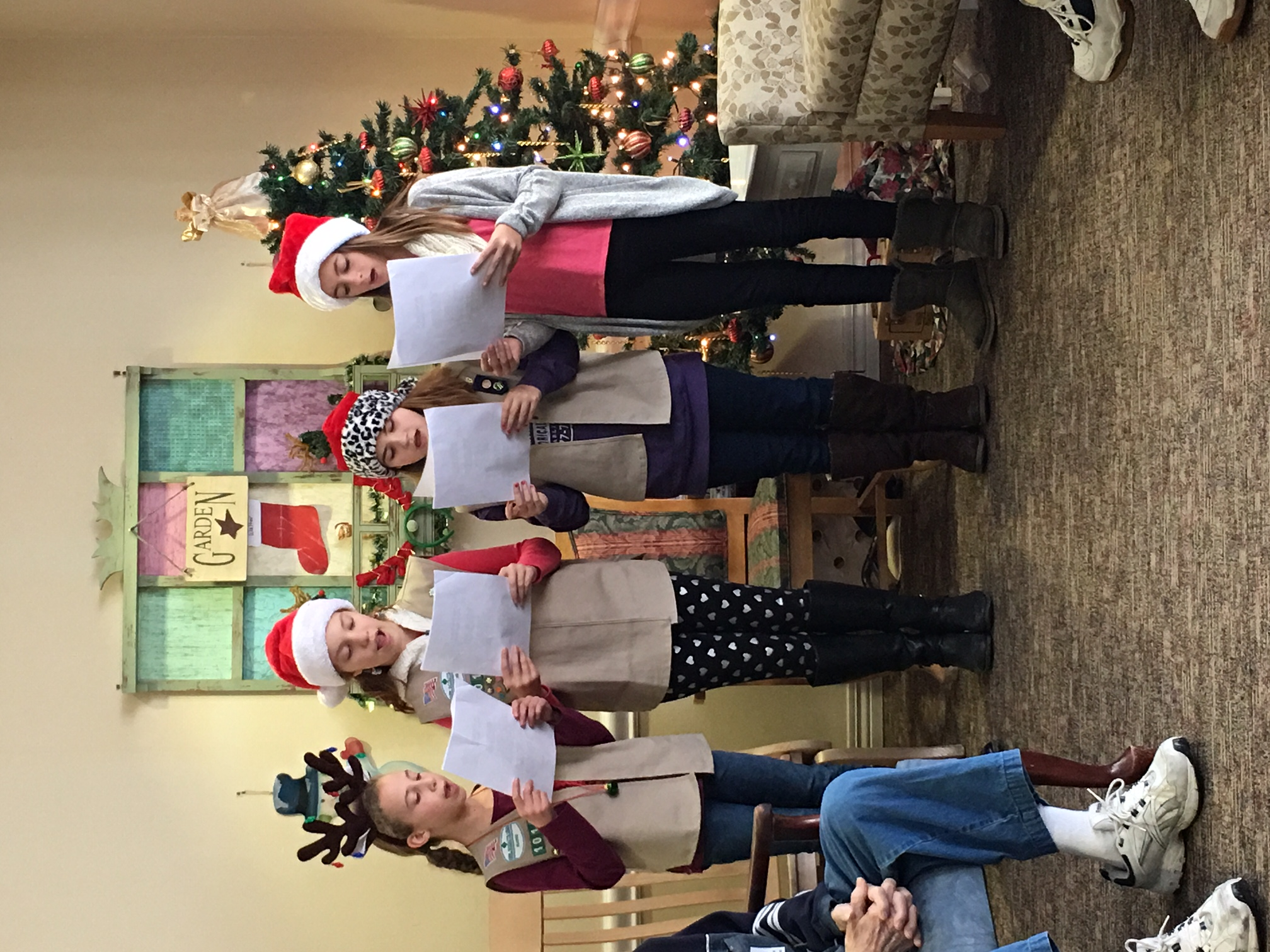 Girl Scouts of Maine Troop 1011 went Caroling at Kindred Living at Monarch in Saco On Dec. 7. They loved bringing the spirit of the season to the residents. Troop members pictured from left are Jordan Anderson, Edie Harriman, Isabelle Rocheleau and Brooke Heon.
