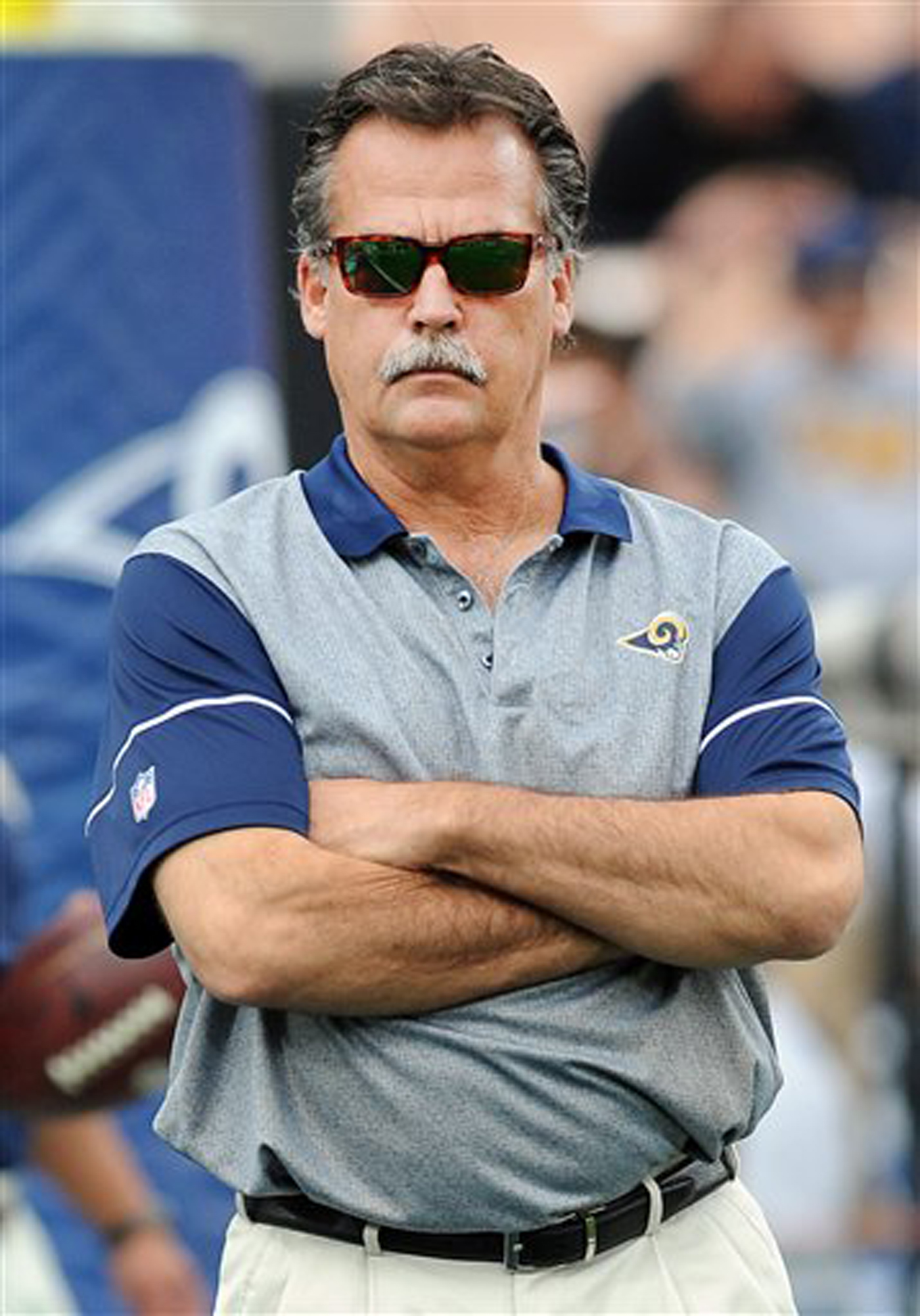 Los Angeles Rams Head Coach Jeff Fisher on the field before a game against the Atlanta Falcons played at Los Angeles Memorial Coliseum in Los Angeles on Sunday, Dec. 11, 2016. AP WIREPHOTO