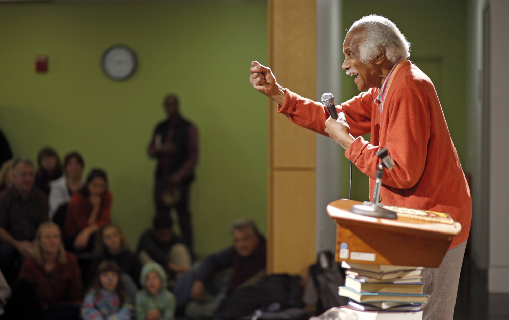 """Ashley Bryan makes an appearance at the Portland Public Library in November for his book """"Freedom Over Me."""""""