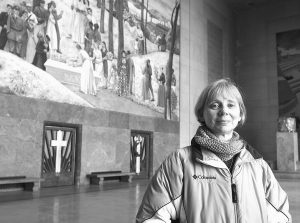 LINDA HIXON, an adjunct instructor of history at Worcester State University, is leading a project to research the names listed on the WWI memorial inside the Worcester Memorial Auditorium.