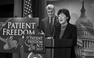 SEN. BILL CASSIDY, R-LA., listens at left as Sen. Susan Collins, R-Maine, speaks during a news conference on Capitol Hill in Washington, Monday, to announce the Patient Freedom Act of 2017, a possible GOP replacement bill for the Affordable Care Act.