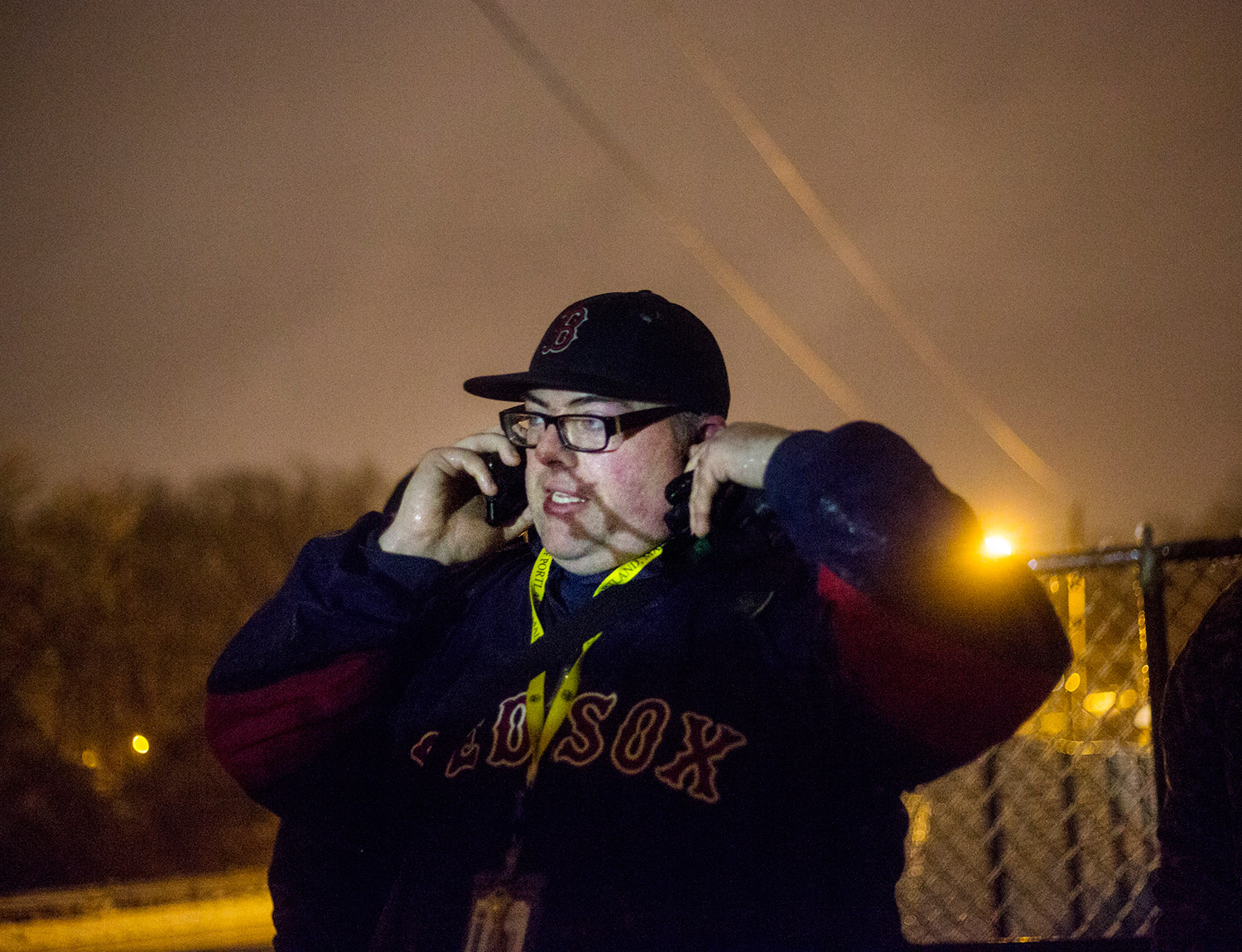 Rob Parritt calls police Tuesday night after finding a homeless camp in a locked area near Fitzpatrick Stadium. The police got into the camp, but no one was in it.