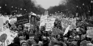 PROTESTERS move along Constitution Avenue at the Women's March on Washington during the first full day of Donald Trump's presidency Saturday in Washington.