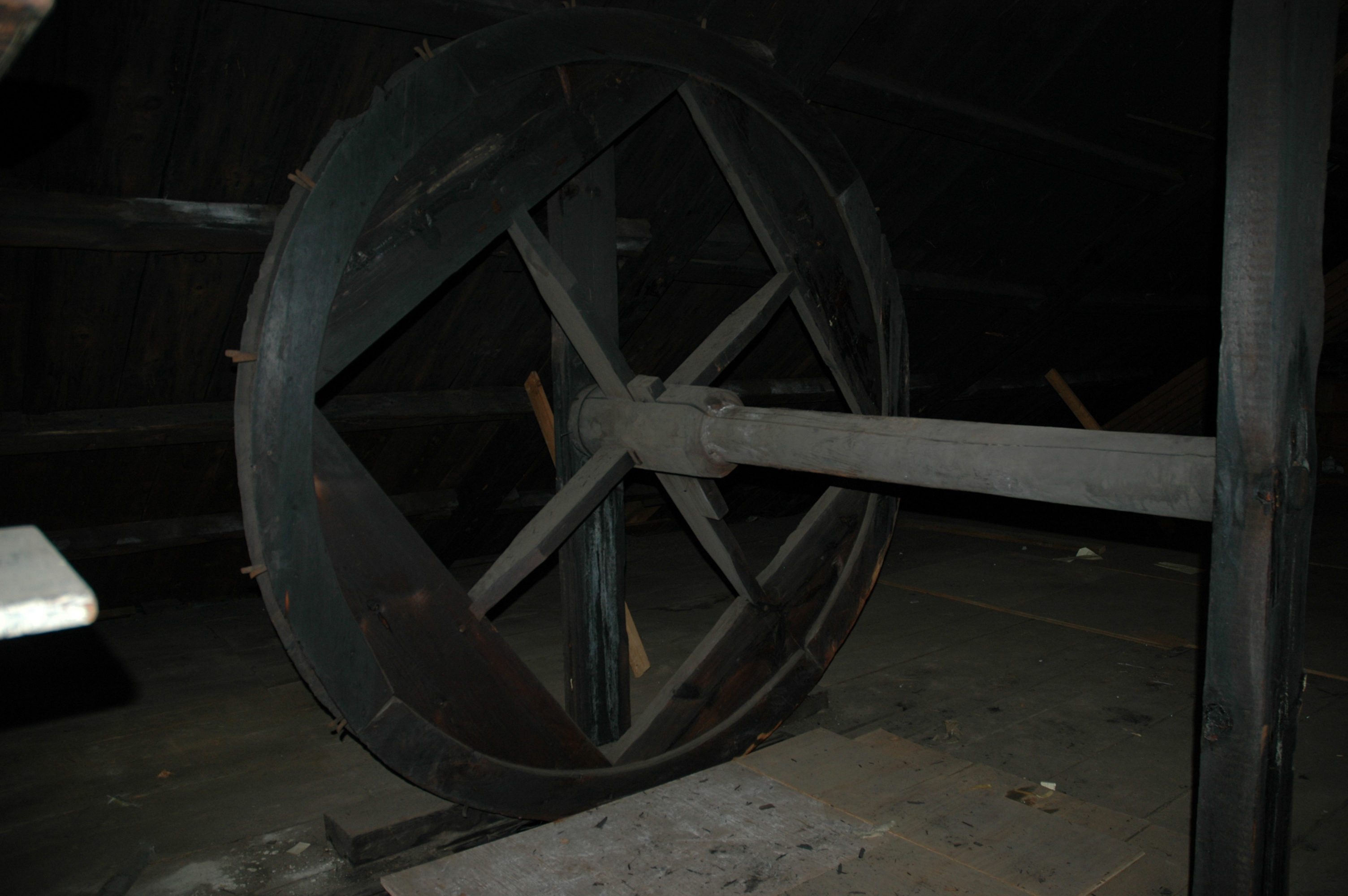 LIZ GOTTHELF/Journal TribuneA wheel from a former pulley system on the third floor of the Agren Appliance building in downtown Saco.