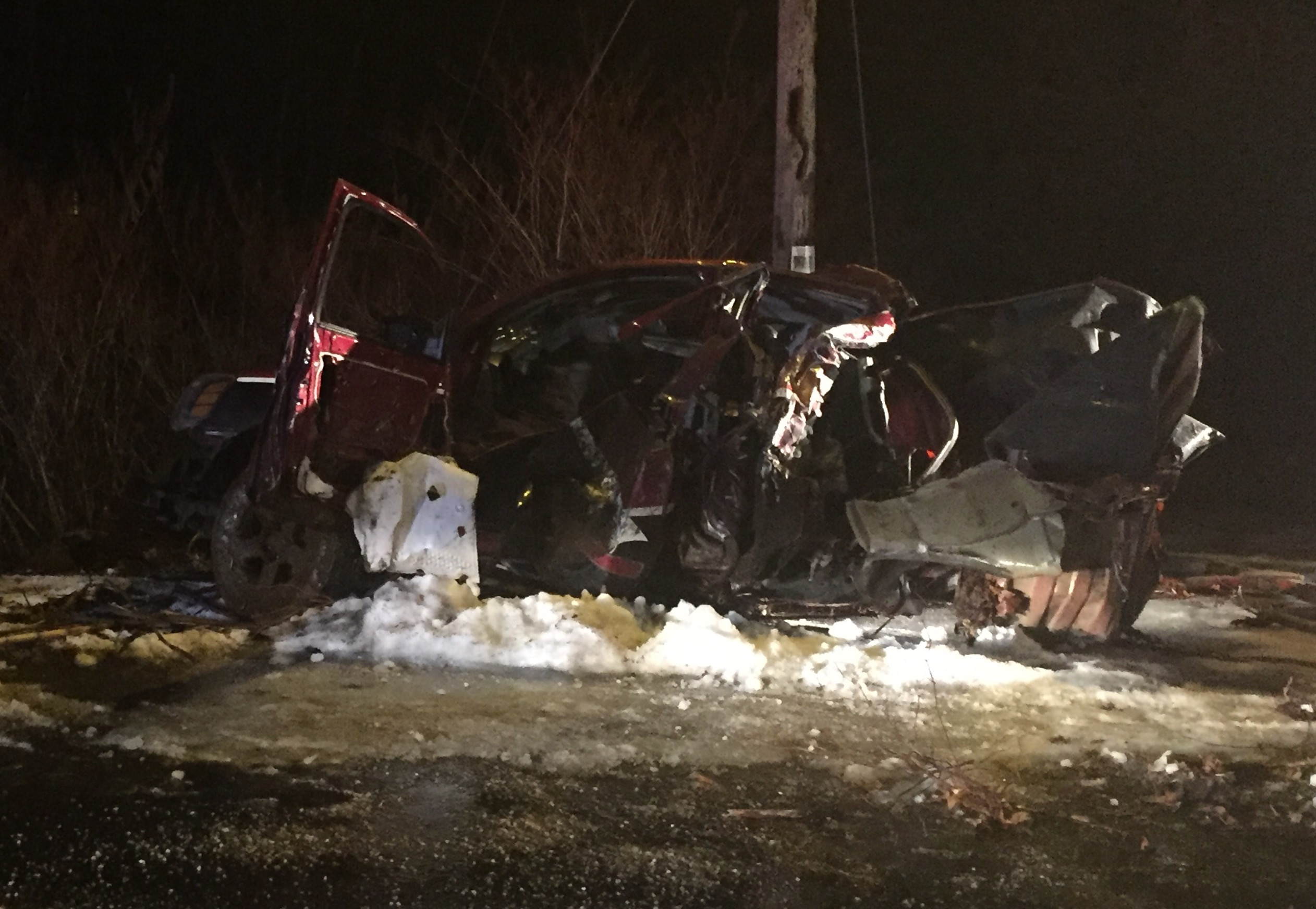 A train struck a vehicle on the tracks just south of Union Avenue in Old Orchard Beach on Tuesday night. LIZ GOTTHELF/Journal Tribune