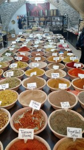 A spice market in Jerusalem's Old City visited by a group from Tiqa in Portland.