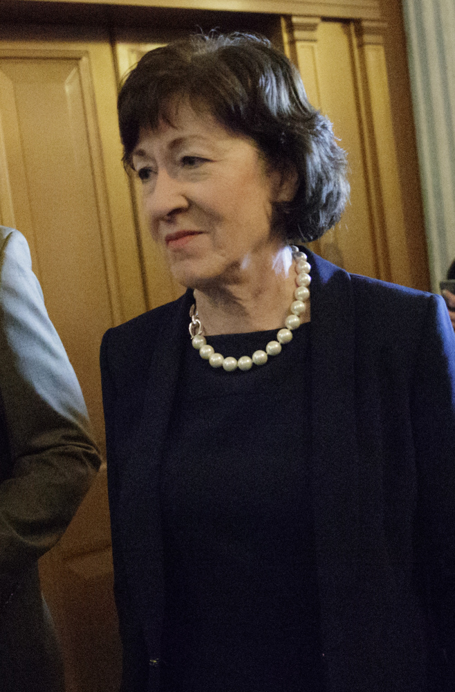 Sen. Susan Collins of Maine, who defected from the Republican majority, arrives at the Senate chamber Tuesday for the Senate vote on Education Secretary-designate Betsy DeVos. Vice President Mike Pence was needed to cast the tie-breaking vote to confirm DeVos.