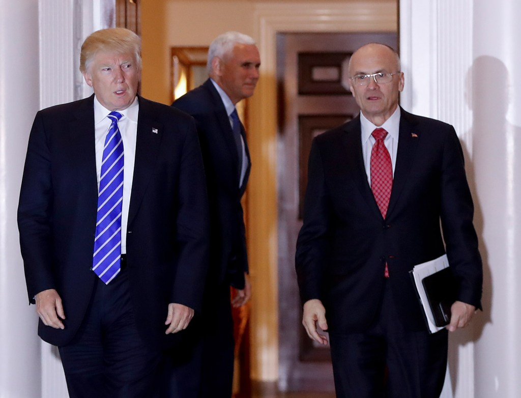 Labor Secretary-designate Andy Puzder, seen in November with Donald Trump, is more interested in squeezing profits out of workers than in honoring their needs.