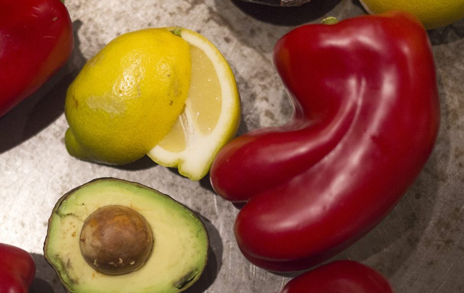 Fruits and vegetables that have superficial flaws are set aside and put in the