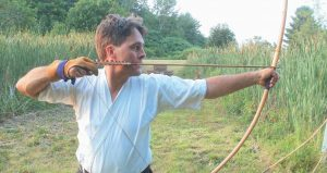 TASHI ARMSTRONG, head instructor for the Maine Heki Ryu School of Japanese Archery and director of the Dzogchen Meditation Center, will demonstrate Kyudo archery at Bath Dance Works on Saturday. The event is part of Japanese Culture Day in Bath.
