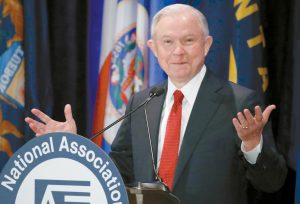 ATTORNEY GENERAL JEFF SESSIONS pauses while speaking at the National Association of Attorneys General annual winter meeting in Washington on Tuesday.