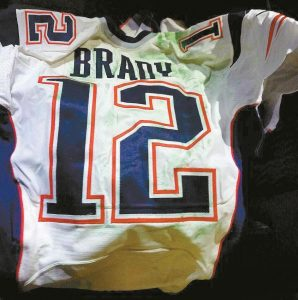 THIS PHOTO RELEASED by MAGO on Tuesday shows Tom Brady's Super Bowl LI jersey after it was recovered by authorities in Mexico City.